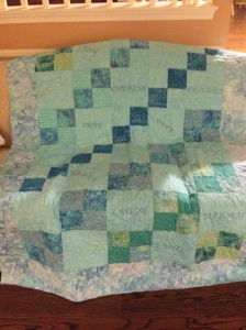 Handmade quilt to keep[ me warm during chemo.